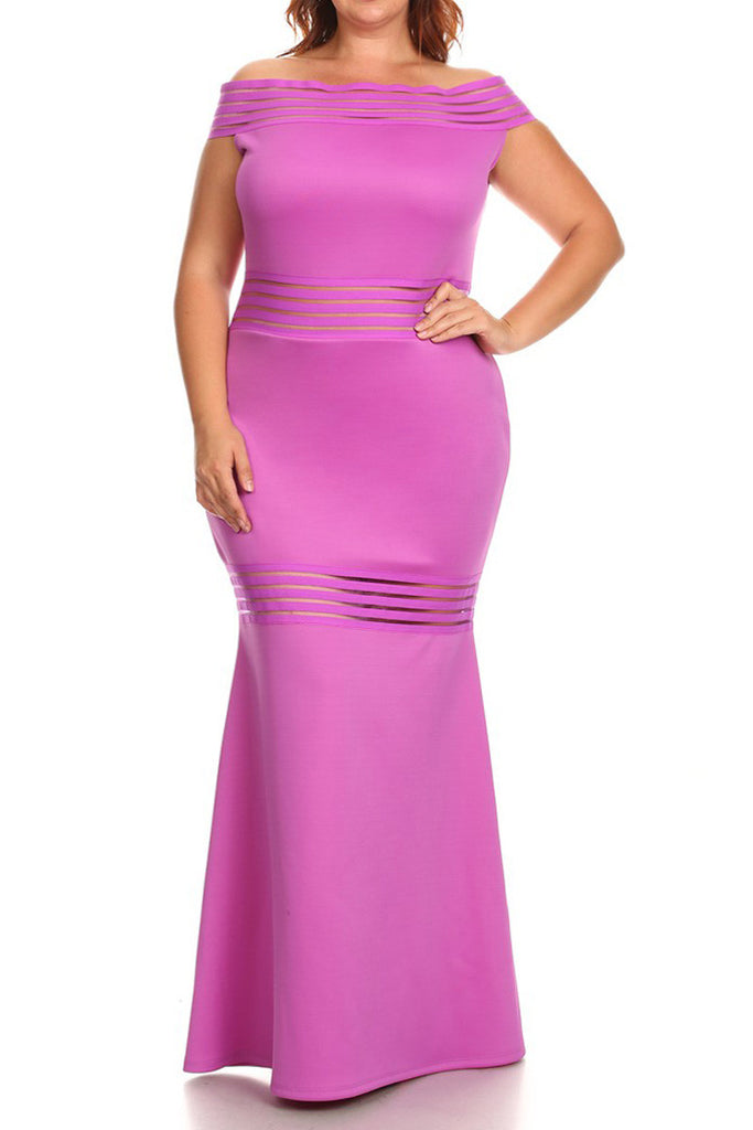 Mermaid Mesh Striped Plus Size Maxi Dress