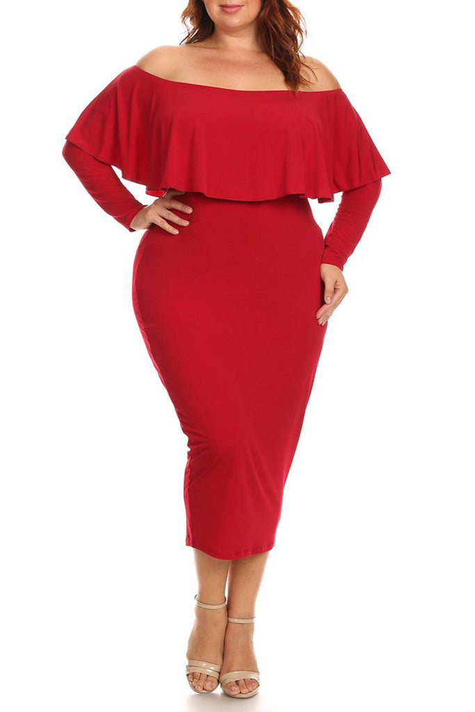 Plus Size Solid Long Sleeve Off The Shoulder Midi Bodycon Dress