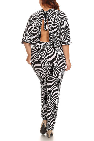 Plus Size Abstract Print 2-Piece Set Cap Style Cropped