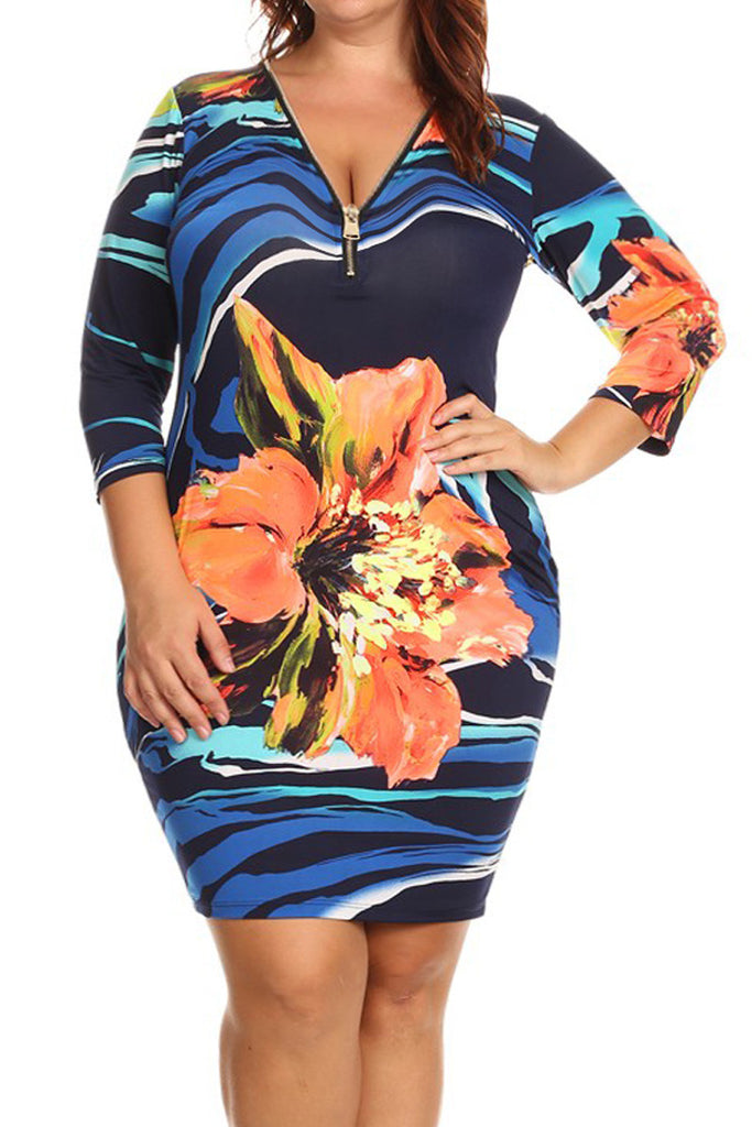 Abstract Floral Zipper V-Neck Plus Size Dress