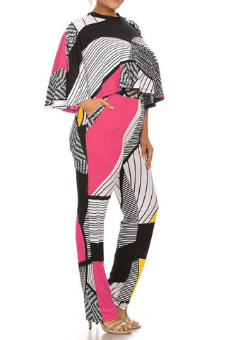 Plus Size Print 2 Piece Top And Pants Set Relaxed Style
