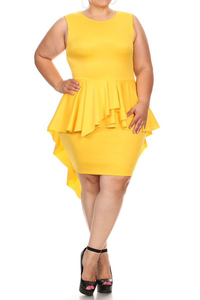 Hi Lo Peplum Sleevless Solid Plus Size Dress