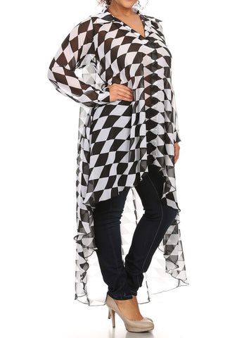 Plus Size Designer Checkered Hi Low Dress
