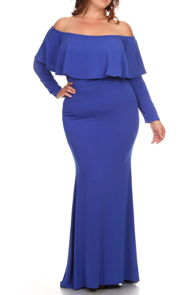 Plus Size Solid Long Sleeve Maxi Dress In A Relaxed Style