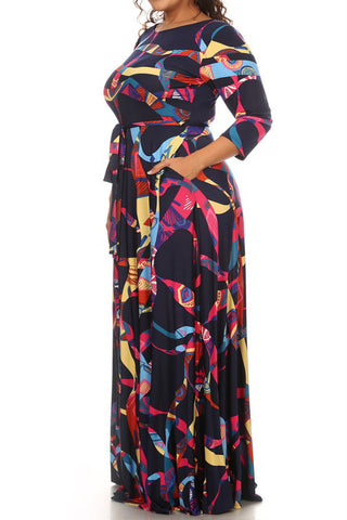 Abstract Party Waist Tie Plus Size Maxi Dress