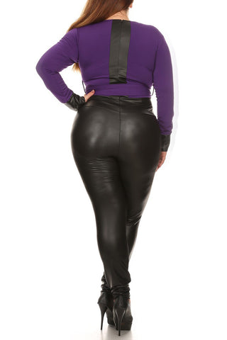 Sexy Leather Waist Tie Plus Size Jumpsuit