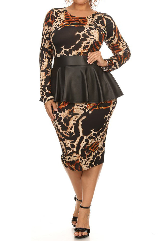 Designer Leather Peplum Plus Size Dress