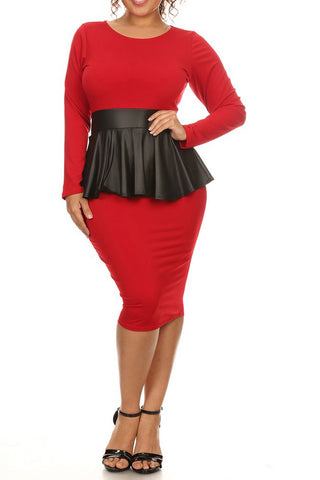 Plus Size Solid Knee Length Dress With Faux Leather Peplum
