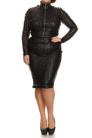 Plus Size Showstopper Leather 2 Piece Set