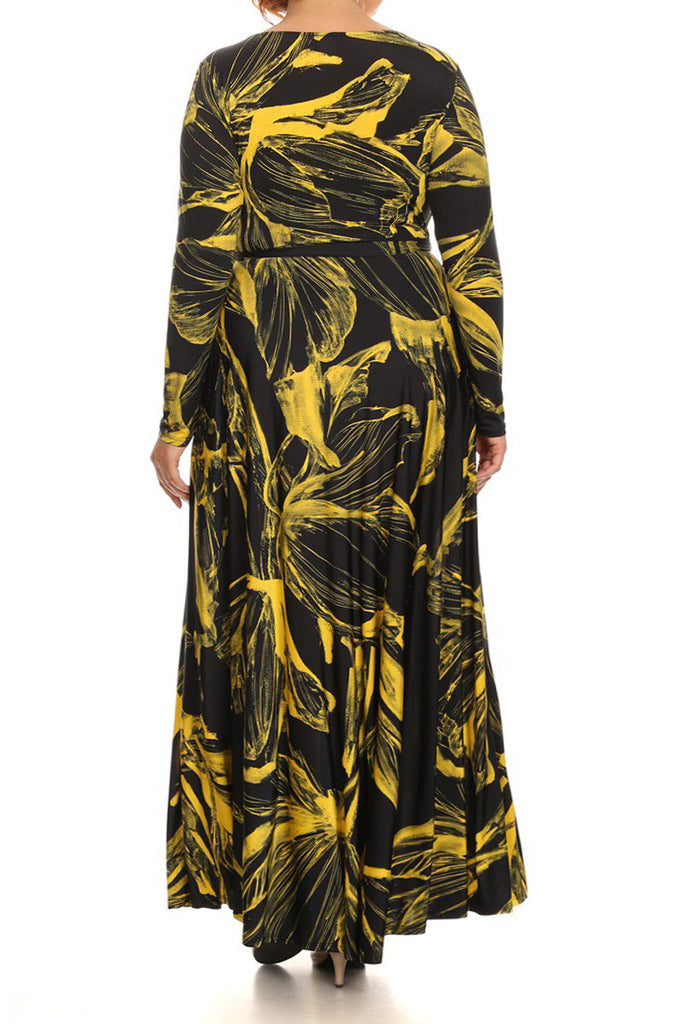Abstract Long Sleeve Waist Tie Plus Size Maxi Dress