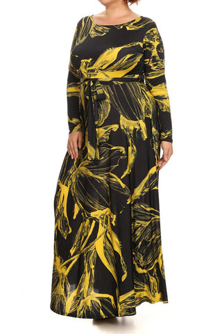 031a3388aab7d Abstract Long Sleeve Waist Tie Plus Size Maxi Dress ...