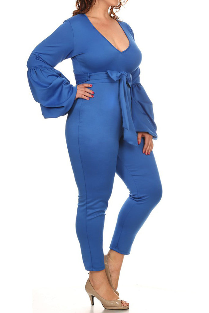 Bell Sleeve Adorable Solid Plus Size Jumpsuit