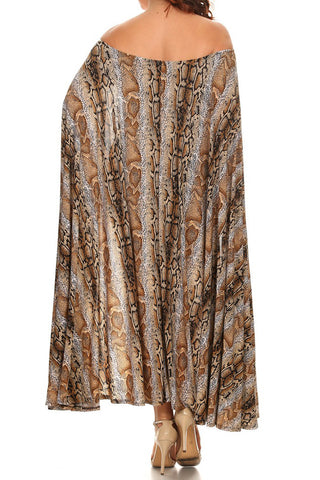Plus Size Rattlesnake Sexy Cape Bodycon Dress