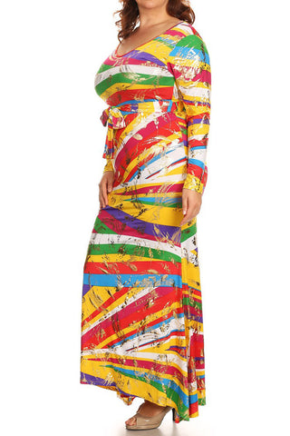Vibrant Paint Strokes Plus Size Maxi Dress