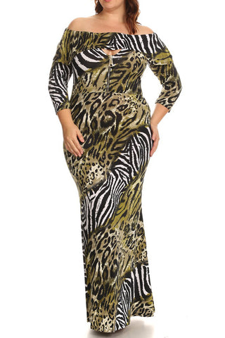 Leopard Off Shoulder Overlay Plus Size Maxi Dress