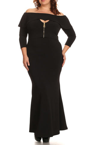 Plus Size Solid Off The Shoulder Bodycon Fit Dress 3/4 Length Sleeves