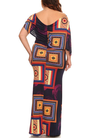 Plus Size Flounce Neckline Draped Maxi Dress