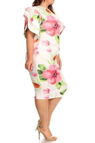 Be Mine Bold Shoulder Floral Plus Size Dress