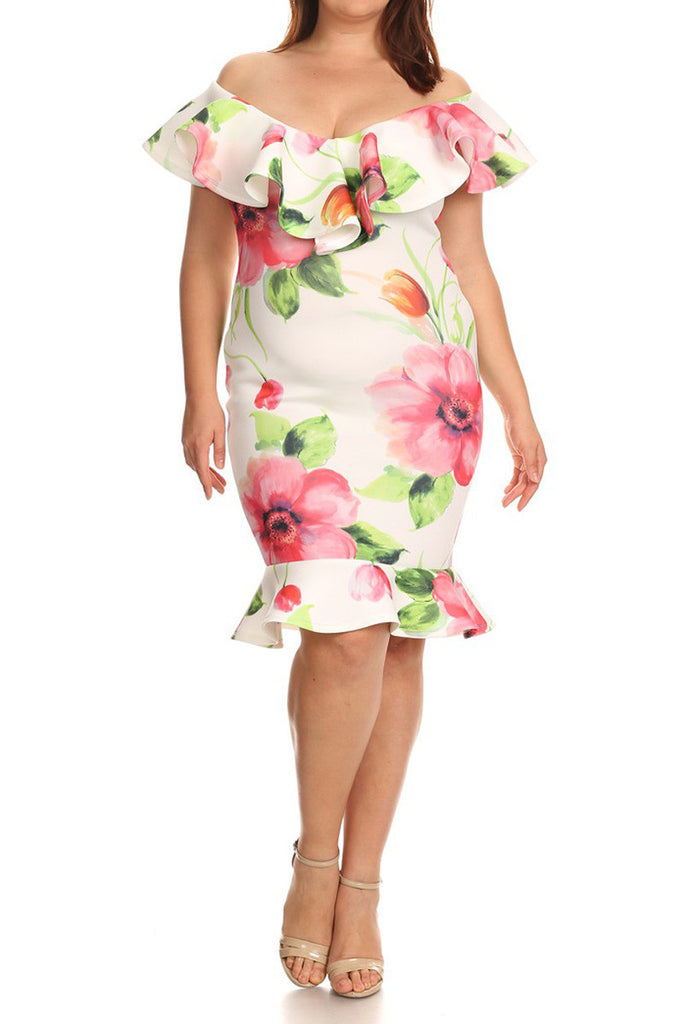 Floral Queen Off Shoulder Plus Size Dress