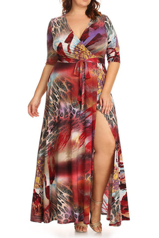 Abstract Sexy Open Slit Plus Size Maxi Dress