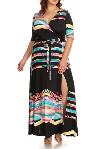 Plus Size Abstract Print 3/4 Sleeve Maxi Dress In A Relaxed Style