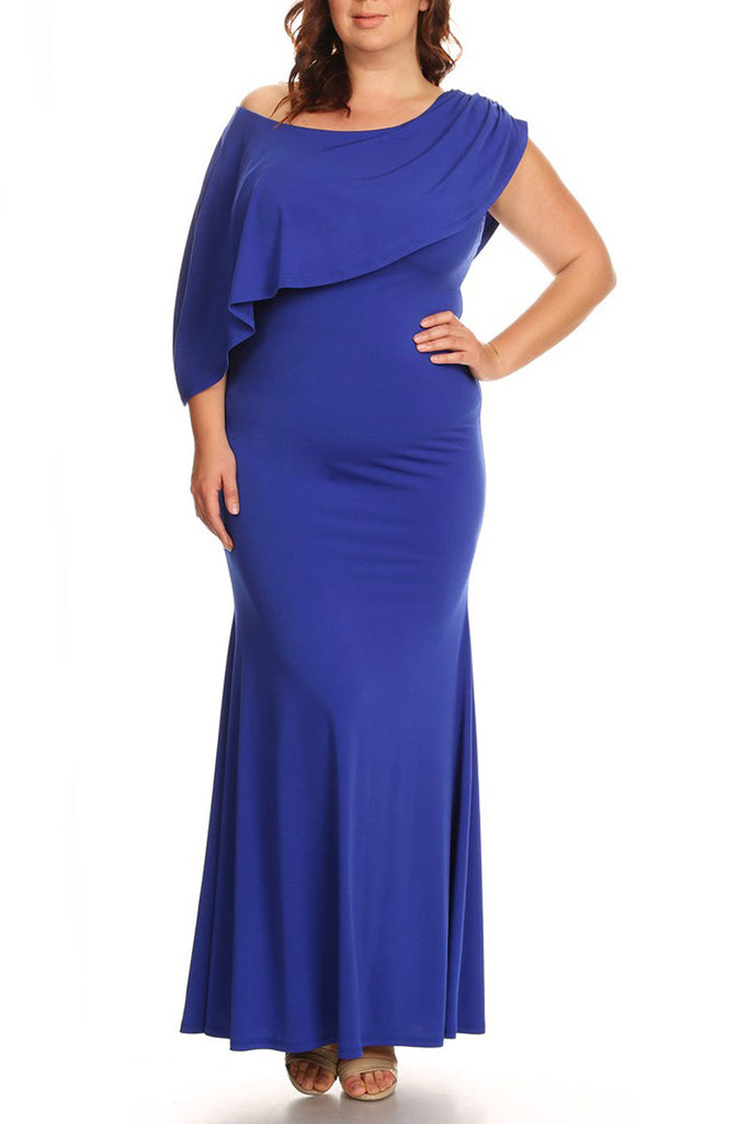 Plus Size Solid One Shoulder Maxi Dress In A Mermaid Silhouette