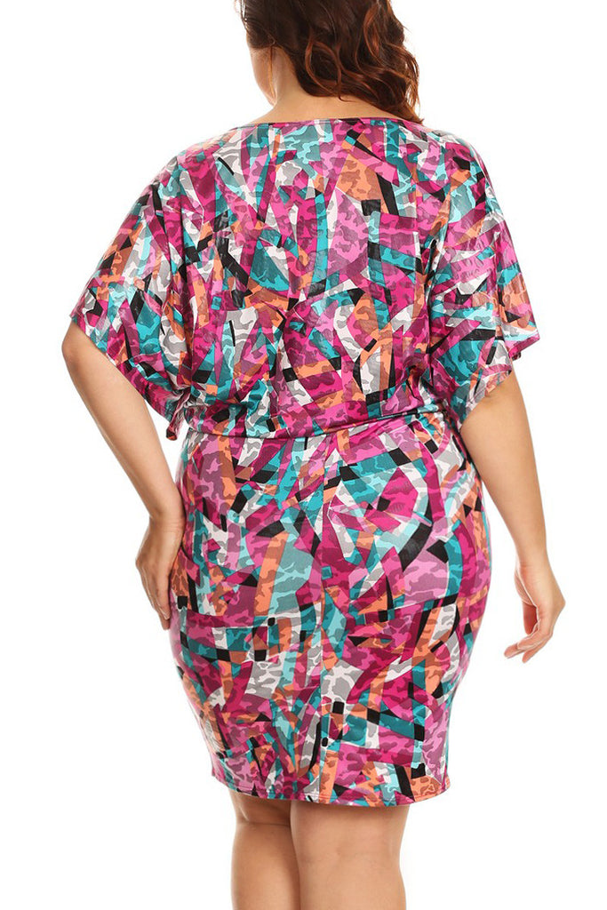 Colorful Unique Wide Neck Plus Size Dress