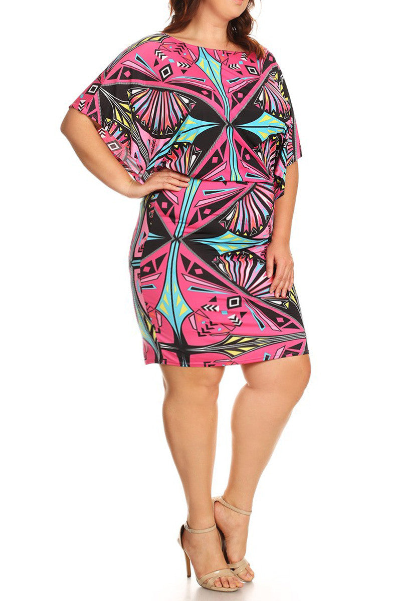Colorful Queen Wide Neck Plus Size Dress