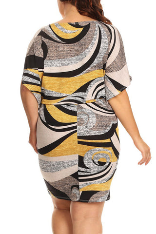 Abtract Swirl Design Wide Neck Plus Size Dress