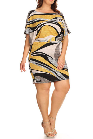 Abstract Swirl Design Wide Neck Plus Size Dress