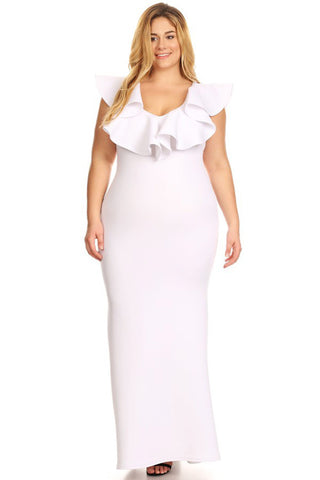 Designer Glam Ruffled Mermaid Plus Size Dress