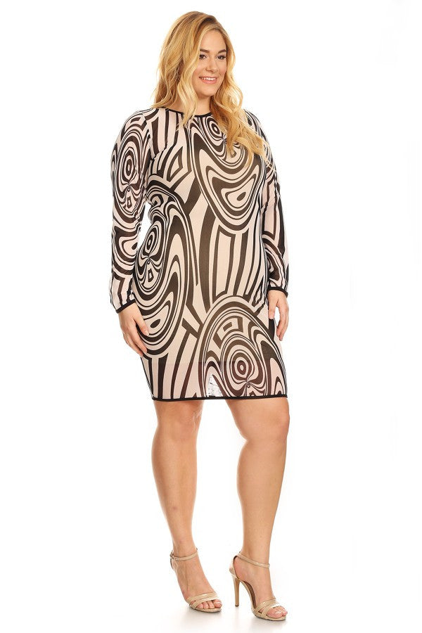 Plus Size Abstract Printed Mesh Short Dress In A Bodycon Fit - Print