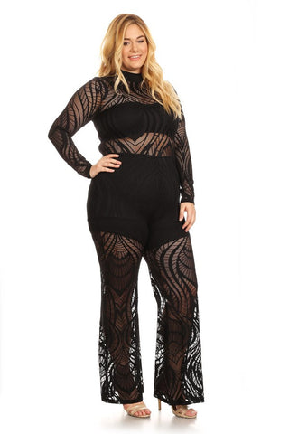 Plus Size Textured Net Jumpsuit In A Bodycon Fit - Black
