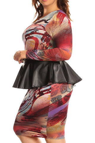 Beautiful Abstract Leather Peplum Plus Size Dress