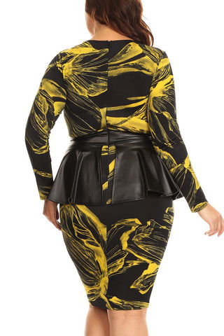 Abstract Floral Leather Peplum Plus Size Dress