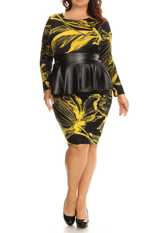 b3ca18b63c4 Abstract Floral Leather Peplum Plus Size Dress ...