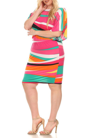 Plus Size Multicolored Abstract Print Midi Dress In A Relaxed Fit