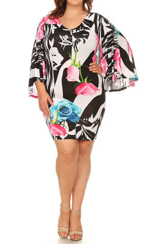Plus Size Abstract Floral Pattern Cape Dress