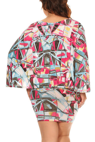 Plus Size Abstract Geo Pattern Cape Dress