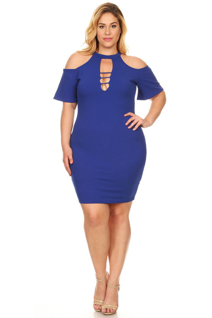 Plus Size Cold Shoulder Cutout Keyhole Bodycon Fit Short Dress