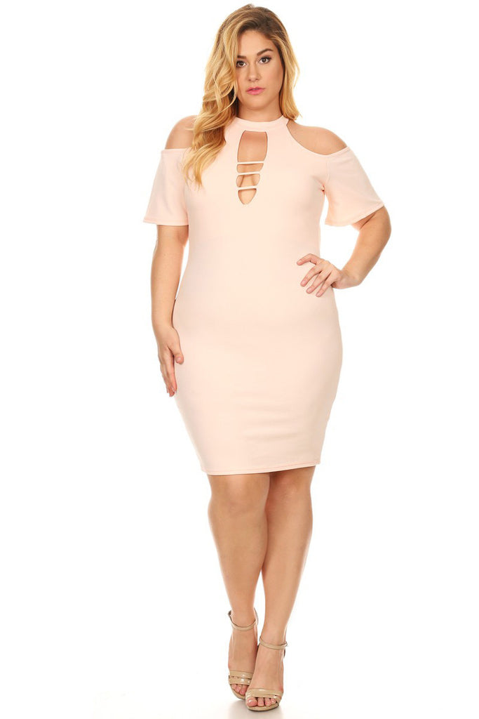 21e7f214d85 Plus Size Cutout Bodycon Cold Shoulder Dress  SALE  – Plussizefix