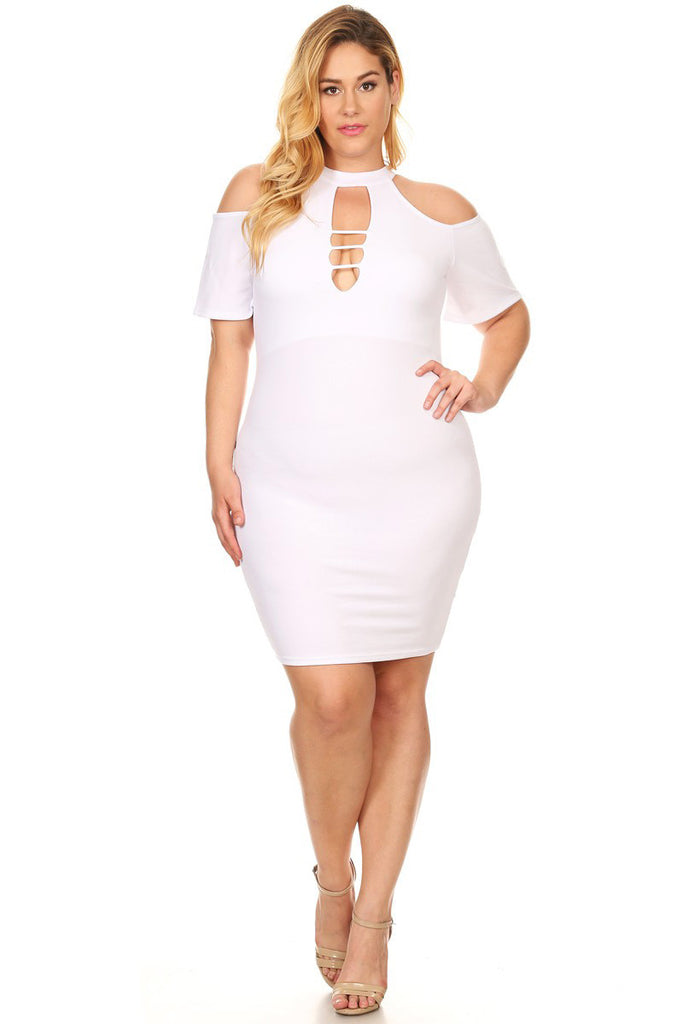 Plus Size Cutout Bodycon Cold Shoulder Dress [SALE]