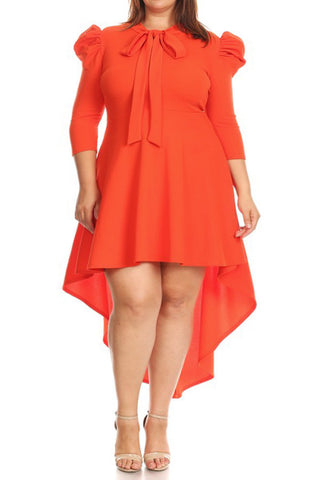 Plus Size Fit And Flare Puffed Shoulder Dress