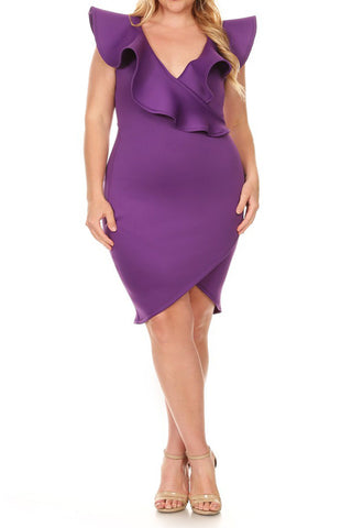 Plus Size SLAY V-Neckline Super Techno Solid Dress