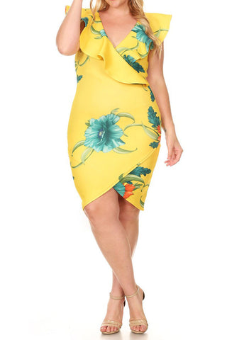 Plus Size Floral V-Neck Line SUPER TECHNO Dress