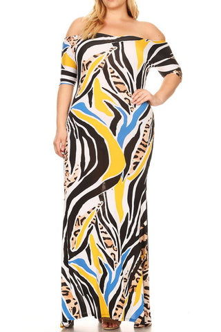 Plus Size Off Shoulder Colorful Zebra Sweetheart Maxi Dress