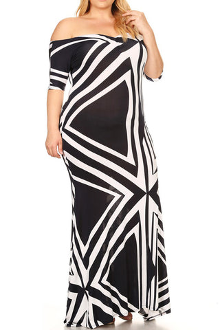 Plus Size Off Shoulder Geo Pattern Sweetheart Maxi Dress