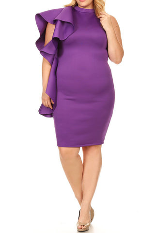 Plus Size Ruffle Side Trim Bodycon SUPER TECHNO Dress