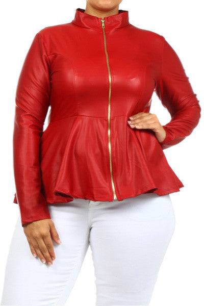 Plus Size Leather Mock Collar Peplum Jacket