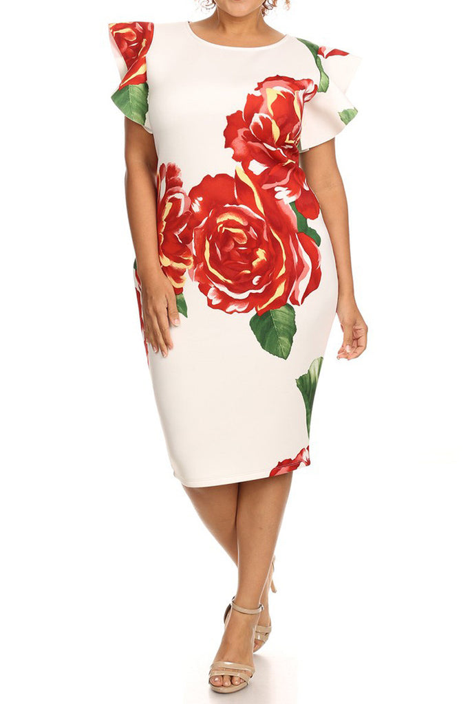 Floral Flutter Sleeve Zip Up Plus Size Dress